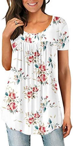 WOMEN'S TUNICS SUMMER SHORT SLEEVE PLEATED BLOUSE LOOSE FLOWY TOPS AND BLOUSES