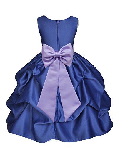 ekidsbridal Navy Blue Pick-Up Satin Bubble Flower Girl Dress Ballroom Dance Dresses 208T S by ekidsbridal