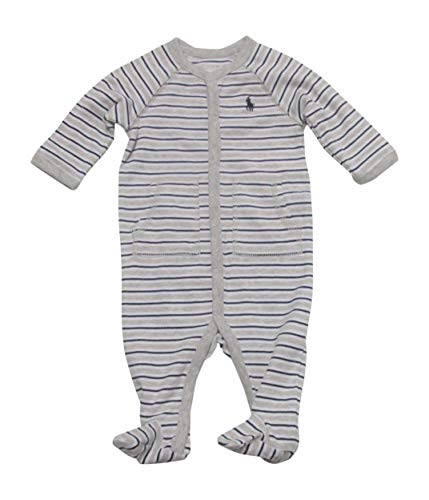 Ralph Lauren Baby Boys Striped Cotton Footed Coverall (6 Months, Light Heather Multi) (Ralph Lauren Baby Boy Bodysuit)
