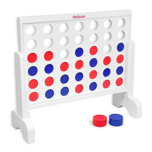 GoSports Giant Wooden 4 in a Row Game - 2 foot Width - Huge 4 Connect Family Fun with Coins, Case and Rules by GoSports