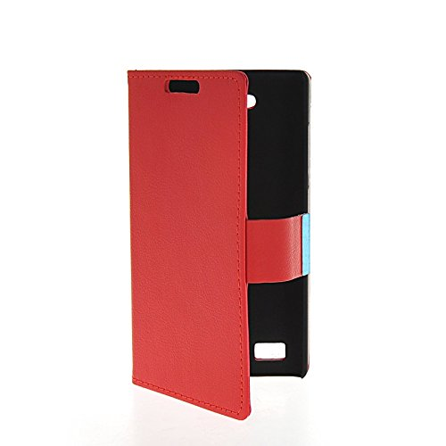 LINTAO Leather Wallet Flip Card Stand Side Pouch Back Case Cover For Huawei Honor 3C Red