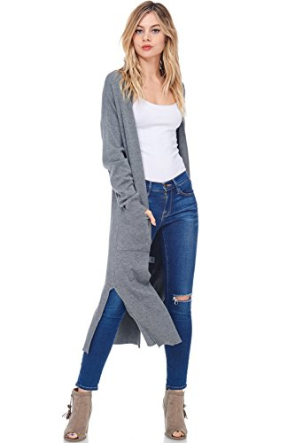 AD Womens Casual Longline Knit Cardigan Sweater W Side Slit (Charcoal, Medium/Large)