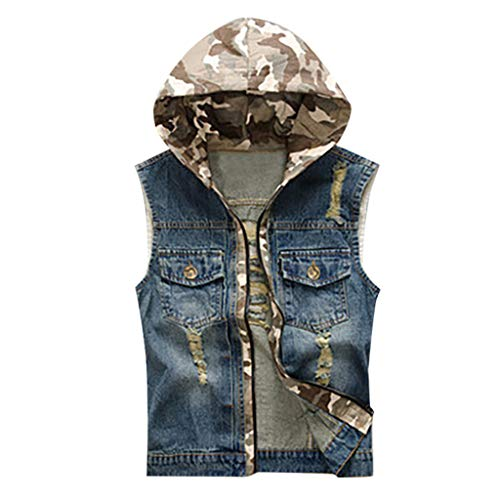(Allywit Boys Mens Denim Vest Casual Cowboy Jacket Ripped Holes Camouflage Hooded Sleeveless Tops Plus Size)