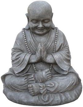 Stone-Lite Figura de Buda Sentado y orando - para casa y jardín - Altura 53 cm - Gris: Amazon.es: Hogar