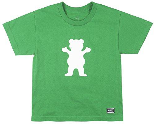 Grizzly Griptape Youth Og Bear Short Sleeve Tee, Kelly Green/White, Medium