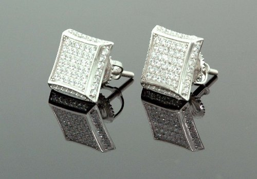 925-sterling-silver-white-square-white-crystal-micro-pave-unisex-mens-stud-earrings