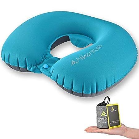 Almohada de viaje de hikenture®. Ligero cojín cervical hinchable para viajes, de plástico suave y cómodo, adecuado para viajar en avión, coche y tren, ...