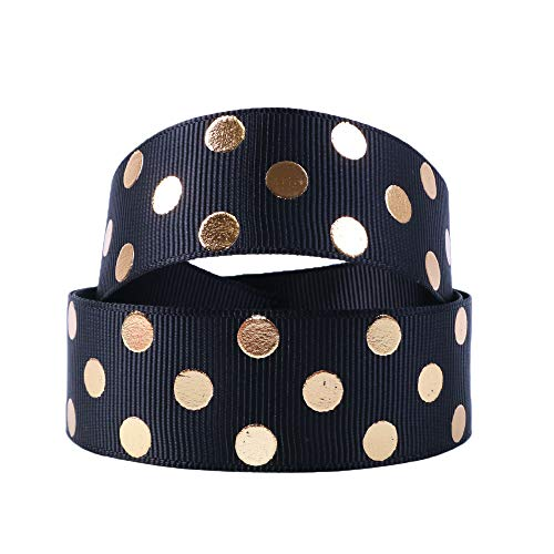 David Angie Gold Foil Dot Printed Grosgrain Ribbon 1 Inch (25 mm) 20 Yard for Gift Wrapping Party Wedding Birthday Decoration (Black)