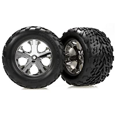 Traxxas 3669 Talon Tires Pre-Glued on Chrome All-Star Wheels, (nitro rear/electric front) (pair): Toys & Games