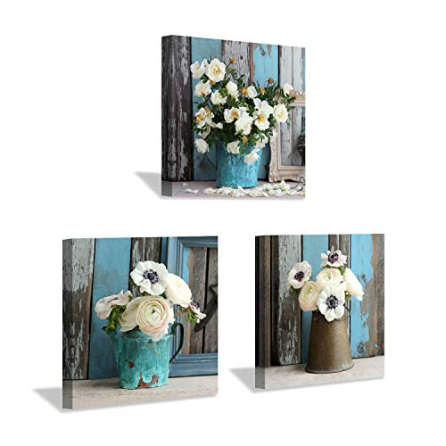 - Flower Artwork Botanical Canvas Prints: Bouquet of Mixed Windflower in Rustic Vases, Wall Art Set in White & Yellowish for Wall Decor