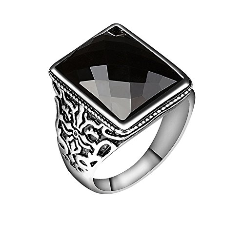 wonCacrostrans Men's Ring, Vintage Pattern Carving Large Square Zinc Alloy...