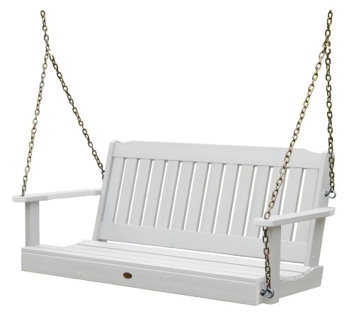 Highwood AD-PORL1-WHE Lehigh Porch Swing, 5 Feet, White 4' Adirondack Porch Swing