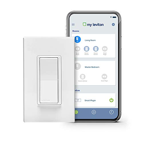 Switched Double Wall Light - Leviton DW15S-1BZ Decora Smart Wi-Fi 15A Universal LED/Incandescent Switch, Works with Amazon Alexa, No Hub Required, White
