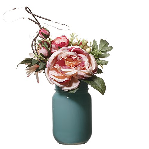 - V-More Tiffany Blue Glass Mason Jar Flower Vase Artificial Silk Flowers Bouquet in Acrylic Faux Water 5-inch Tall For Home Decor Wedding Party Celebration