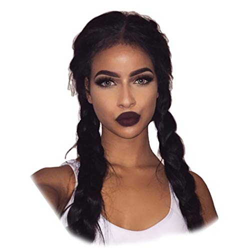 Inkach Clearance!! Braided Human Hair Wigs with 2 Braids Baby Hair Heat Resistant Synthetic Fiber Middle Part Full Party Wigs for Black Women Hairpiece (24