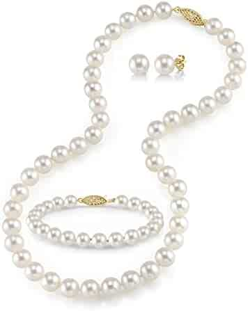 14K Gold White Freshwater Cultured Pearl Necklace, Bracelet & Earrings Set, 18