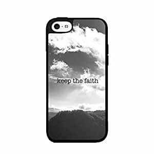 Black and White Keep the Faith 2-Piece Dual Layer Phone Case Back Cover iPhone 5 5s includes diy case Cloth and Warranty Label