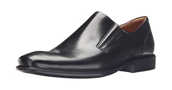 ECCO Men/'s Cairo Black Leather Plain Toe Slip-On Loafer 631784