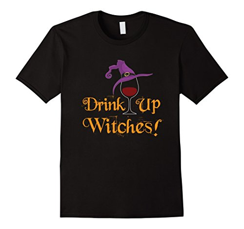 Red Orange Is The New Black Halloween Costume (Mens Drink Up Witches T Shirt Wine and Halloween Large Black)