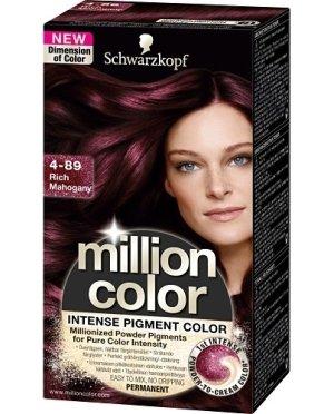 coloration million color de schwarzkopf poudre crme permanent 489 acajou prcieux - Coloration Violine Soie