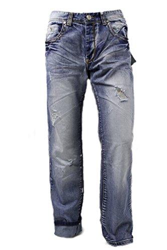 Megaman Herren Jeans Denim Distressed Straight Cut Loose Fit
