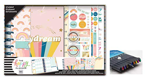 me & My Big Ideas Create 365 The Happy Planner, Medium/Classic Student Box Edition: 70s Vibe, 12 Month Planner, Aug 2019 - July 2020 Comes with Kemah Craft Fineliner 10 Pc Color Pens (Box-211) (Best Planner Pens 2019)