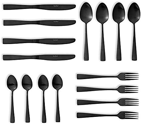 VonShef 16pc Matte Black Cutlery Set Decorative Dining Tableware Set for 4 People