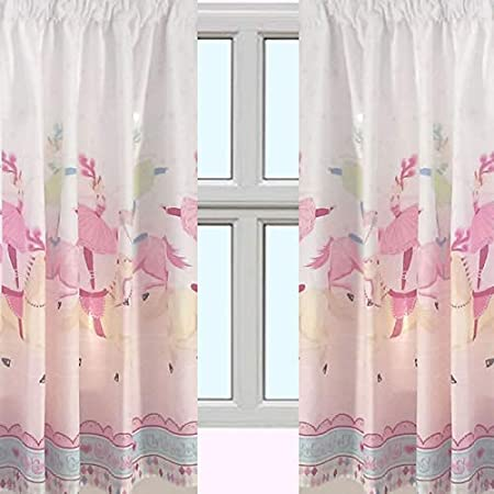Girls Pink Show Time Horses Circus Ballet 66 x 72 Curtains