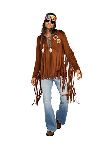 Woodstock Halloween Costume (Dreamgirl Men's 1960's Rock Star Hippie Dude Costume, brown,)