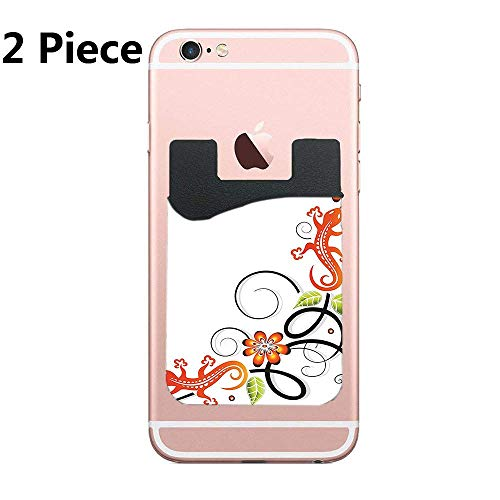 ZninesOnhOLD Mobile Phone Holder, Pofesun 2 Piece Color Sticker ID Card Credit Card Wallet Pocket Phone Pocket, iPhone - Small Baby Lizard Flowers and Leaves with Oriental Lines Print (Print Metallic Lizard)