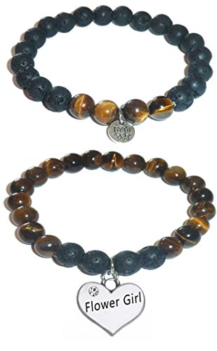 Hidden Hollow Beads Charm Tigers Eye and Black Lava Natural Stone Women's Yoga Beaded Stretch Bracelet Set. COMES IN A GIFT BOX! (Flower Girl)