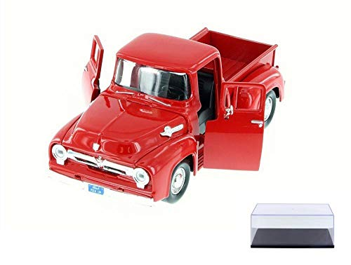 Motor Max Diecast Car & Display Case Package - 1955 Ford F-100 Pick Up Truck, Red 79341AC/R - 1/24 Scale Diecast Model Toy Car w/Display Case