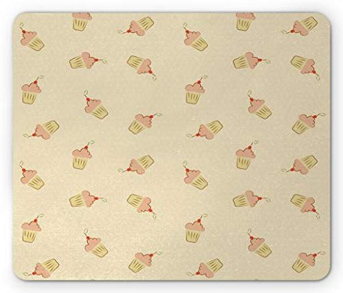 Dessert Mouse Pad, Cupcake with Frosting Pattern on a Polka Dotted Background Sweets Design, Standard Size Rectangle Non-Slip Rubber Mousepad, Beige Blush Vermilion,8.66 x 7.08 x 0.118 -