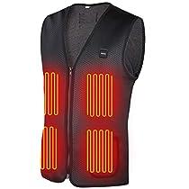 DINOKA 電熱 ベスト 電熱ジャケット 8枚ヒーター内蔵 防寒 加熱 USB接続 バッテリー給電 3段階温度調...