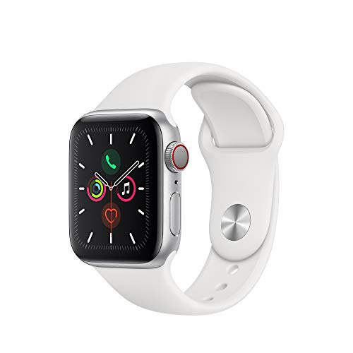 Apple Watch Series 5 (GPS + Cellular, 40mm) - Silver Aluminum Case with White Sport Band (Nike Gps Watch Band)
