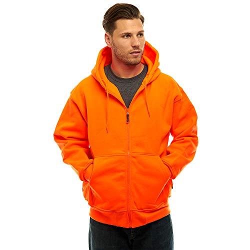 Mens Double Fleece Full Zip Blaze Orange Hoody (Large)