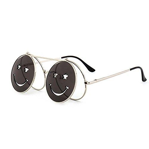 2018 de Steampunk para femenino sol Marco plateado Mesas las mujeres de rojo amarillo Vintage blanco gafas metal de plegables sol gafas de bastidor ZHANGYUSEN clip nqfRXwFw