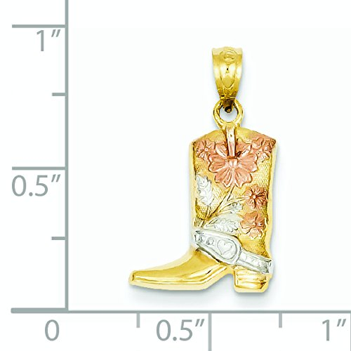 14 carats et Rhodium-Pendentif Chaussure à fleurs-Dimensions :  22,2 x 13 mm-JewelryWeb