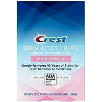 Crest 3D Whitestrips Vivid White Gentle Teeth Whitening Kit, 12 Treatments