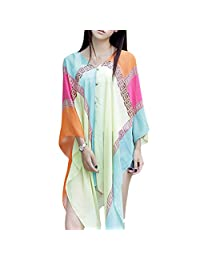 IvyFlair Multi-Use Sheer Chiffon Multicolor Scarf Wrap Beach Cover Up w/ Buttons