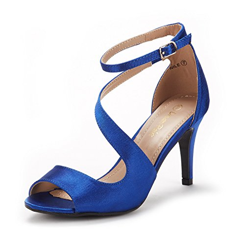DREAM PAIRS Women's NILE Royal Blue Satin Fashion Stilettos Open Toe Pump Heel Sandals Size 8.5 B(M) US
