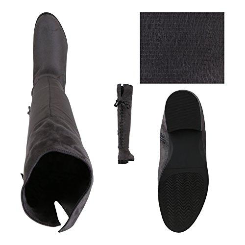 Stiefelparadies Damen Stiefel Overknees Langschaftstiefel Leicht Gefütterte Schuhe Flandell Grau Brooklyn