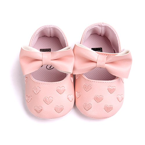 Itaar Baby Girl Moccasins Bow PU Leather Heart Embroidered Soft Soled Shoes for Infants Toddlers - Image 1