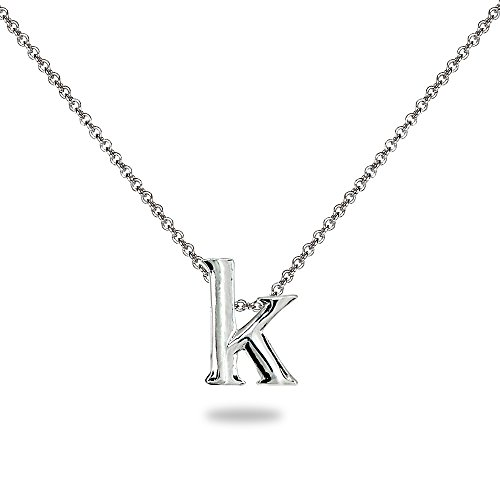 """- Sterling Silver K Letter Initial Alphabet Name Personalized Pendant Necklace, 15"""" + Extender"""
