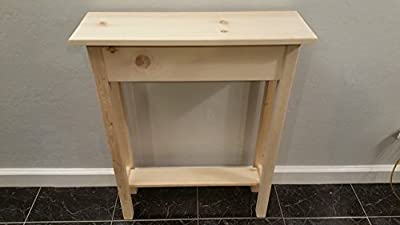 """24"""" Unfinished Pine Narrow Wall, Foyer, Sofa , Console, Hall Table With Bottom Shelf"""