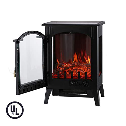 KOOLWOOM Portable Electric Fireplace Stove Heater with Thermostat for Office and Home 3D Flame &Quiet Fan 16.2 W x 10.6 D x 22.8 H, Black ()