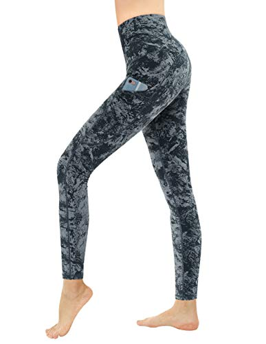 Dragon Fit High Waist Yoga Leggings with 3 Pockets,Tummy Control Workout Running 4 Way Stretch Yoga Pants (Medium, Carbon Gray-Marble)