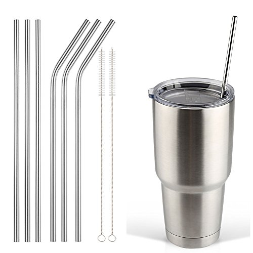 Accmor 18/8 Stainless Steel Straws, Reusable Metal Drinking Straws for 30 20 Oz Yeti Tumbler Rambler Cups(6, FBA)