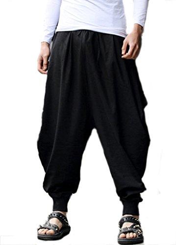 Harem Homme Casual Ouye Noir Soft Rétro Pantalons U8tpOqw