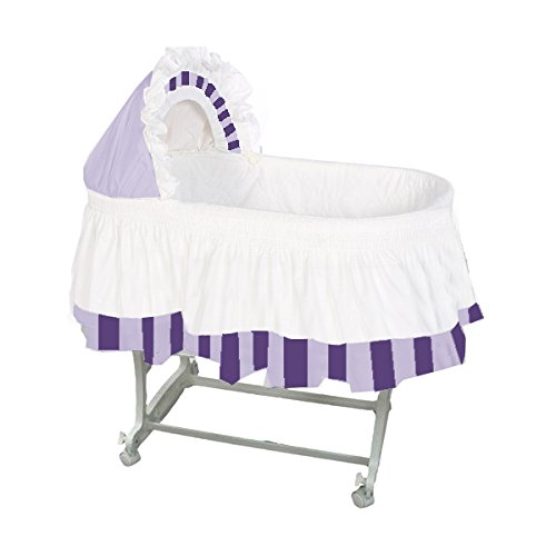 aBaby Color Block Bassinet Skirt, Lavender/Purple/White, Large by Ababy